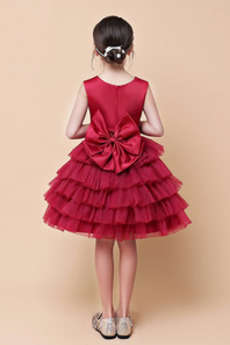 Bogen Mehrschichtig Ärmellos Glamourös Juwel Blumenmädchen kleid