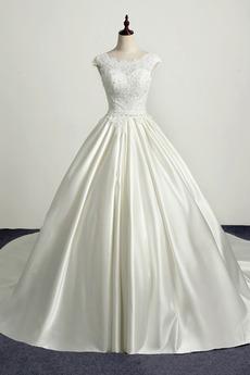 Schnüren Kirche Frenal Natürliche Taille Brautkleid mit kurzen Ärmeln