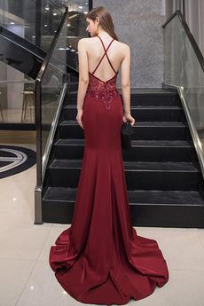 Tüll Juwel akzentuiertes Mieder Lehnenlose Zierlich Abendkleid