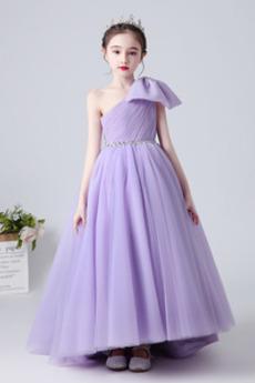 Eine Schulter Natürliche Taille Formalen Kleine Mädchen Kleid