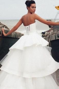 Birne A Linie Draussen Asymmetrisch Natürliche Taille Hochzeitskleid