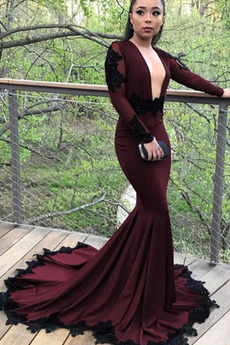 Rückenfrei Lange Ärmel Lange V-Ausschnitt Bankett Abendkleid