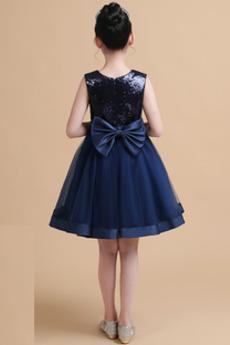 Juwel Trichter Knielänge Natürliche Taille Blumenmädchen kleid