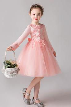 Juwel A Linie Knielänge Frühling Spitzenüberlagerung Blumenmädchen kleid
