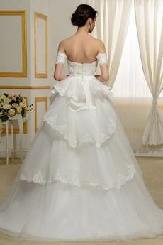 Kirche Bördeln Natürliche Taille Brautkleid mit kurzen Ärmeln