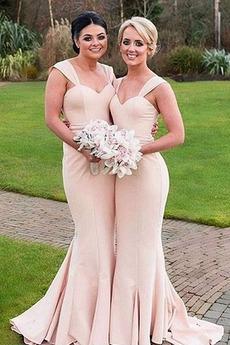 Natürliche Taille Meerjungfrau Breite Riemen Brautjungfernkleid