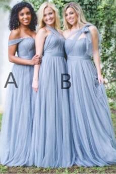 Trichter Falten A Linie Fegen zug Akzentuierter Bogen Brautjungfernkleid