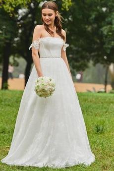 Natürliche Taille Rückenfrei Tau Schulter Akzentuierte Rosette Winter Brautkleid
