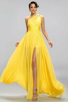 Ärmellos Natürliche Taille A Linie Eine Schulter Lehnenlose Abendkleid