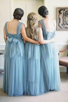 Bogen Fegen zug A Linie Rückenfrei Eine Schulter Brautjungfer Kleid