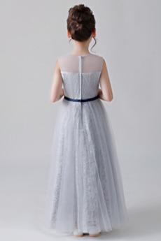 Reißverschluss Sommer Juwel Knöchellänge Tüll Blumenmädchen kleid