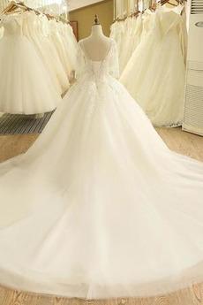 3/4 Länge Ärmel A Linie Appliques Breit flach Hochzeitskleid