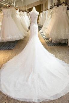 Bördeln Juwel Fiel Taille Kirche Hoch bedeckt Meerjungfrau Brautkleid