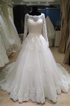 Spitze Lange Ärmel Spitze Reißverschluss Trichter Brautkleid