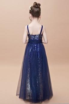 Bodenlänge Sequiniert Natürliche Taille Kleine Mädchen Kleid
