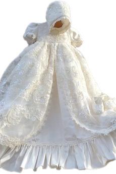 Kurze Ärmel Prinzessin Juwel Zeremonie Spitze Kappe Baby kleid
