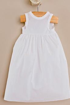 Taffeta Juwel Lange Hoch bedeckt Natürliche Taille Blumenmädchen kleid