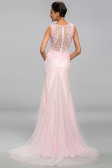 Meerjungfrau Reißverschluss Bateau Elegante Trichter Abendkleid