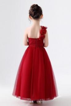 Reißverschluss Knöchellänge Akzentuierte Rosette Blumenmädchen kleid