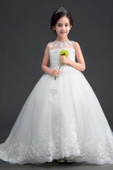 Bow Trichter Spitze Spitzenüberlagerung Kleine Mädchen Kleid