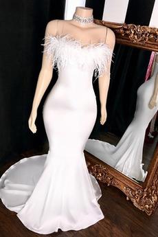 Meerjungfrau Sommer Natürliche Taille Trägerlos Zierlich Abendkleid