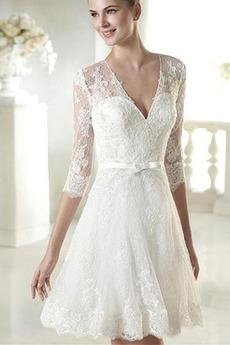 Halbe Ärmel Frühling Draussen Reiner zurück Einfache Brautkleid