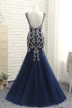 Luxuriös Partei Rückenfrei V-Ausschnitt Meerjungfrau Abendkleid