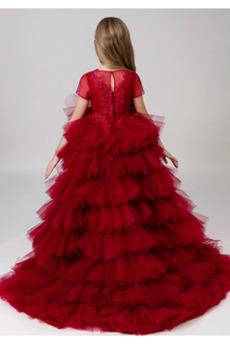 Lange Trichter Asymmetrisch Juwel Winter Kleine Mädchen Kleid