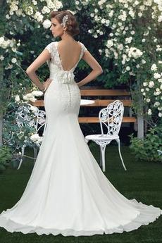 Kurze Ärmel Sommer Chiffon Drapiert Lehnenlose Sexy Brautkleid