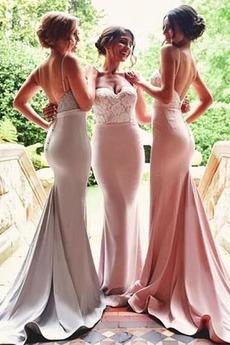 Rückenfrei Natürliche Taille Ärmellos Mantel Brautjungfernkleid