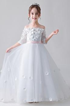 Zeremonie Natürliche Taille Trichter Formalen Blumenmädchen kleid