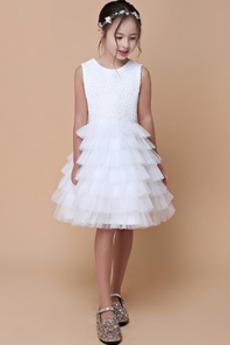 Juwel Hochzeit Natürliche Taille Ärmellos Blumenmädchen kleid