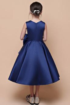 Bogen Fallen Satiniert Natürliche Taille Kleine Mädchen Kleid