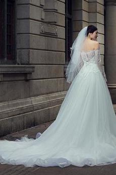 Trichter Lange Ärmel Kirche Natürliche Taille Mitte zurück Brautkleid