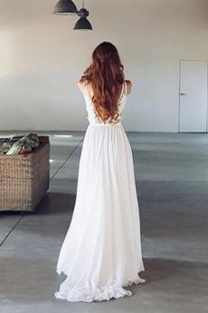 Bördeln Draussen Ärmellos Rückenfrei Fegen zug Chiffon Brautkleid