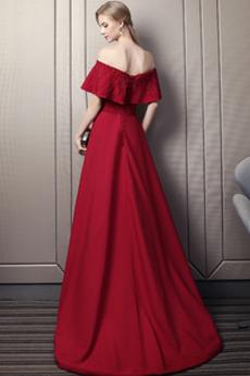 Juwel akzentuiertes Mieder Fegen zug Kurze Ärmel A Linie Abendkleid