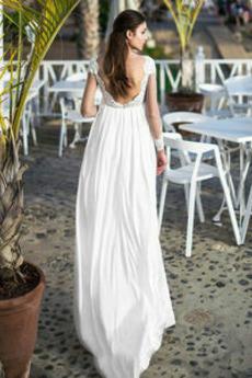 Lange Ärmel Trichter Illusionshülsen Chiffon Bodenlänge Brautkleid