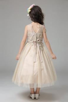 Tüll Karte Spitzenüberlagerung Trichter Kleine Mädchen Kleid