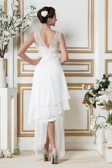 Asymmetrisch Draussen Natürliche Taille V-Ausschnitt Sexy Brautkleid