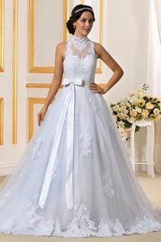 Kirche Hoch bedeckt Natürliche Taille Formalen Spitze Brautkleid