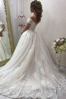 Spitzenüberlagerung Fegen zug Trichter Brautkleid mit kurzen Ärmeln