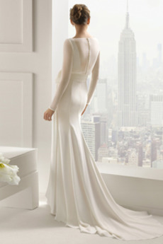 Fest Fegen zug Einfach Lange Ärmel Akzentuierter Bogen Winter Brautkleid