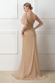 Mitte zurück Chiffon A Linie Natürliche Taille Kurze Ärmel Abendkleid