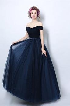 Tüll Natürliche Taille Gefaltete Mieder Lehnenlose Abendkleid