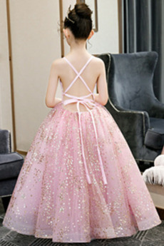 Tüll Rückenfrei A Linie V-Ausschnitt Knöchellänge Blumenmädchen kleid