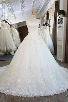 Breit flach Tüll Ärmellos Formalen Fallen Prinzessin Brautkleid