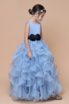 Geschwollen Knöchellänge Formalen A Linie Blumenmädchen kleid