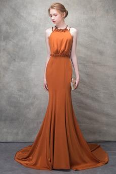 Ärmellos Lange Natürliche Taille Sommer Drapiert Juwel Abendkleid