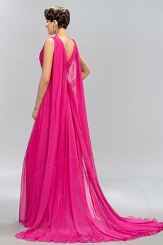 Ärmellos Drapiert Natürliche Taille Formalen Lehnenlose Abendkleid
