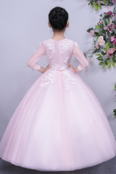 Formalen Trichter Knöchellänge Spitzenüberlagerung Tüll Blumenmädchen kleid